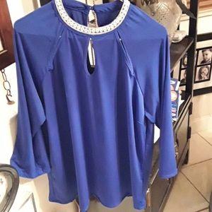 Blue blouse with jeweled collar, size 2X